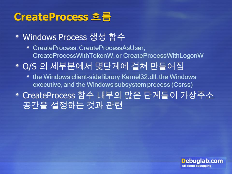CreateProcess 흐름 Windows Process 생성 함수 CreateProcess, CreateProcessAsUser, CreateProcessWithTokenW, or CreateProcessWithLogonW O/S 의 세부분에서 몇단계에 걸쳐 만들어짐 the Windows client-side library Kernel32.dll, the Windows executive, and the Windows subsystem process (Csrss) CreateProcess 함수 내부의 많은 단계들이 가상주소 공간을 설정하는 것과 관련