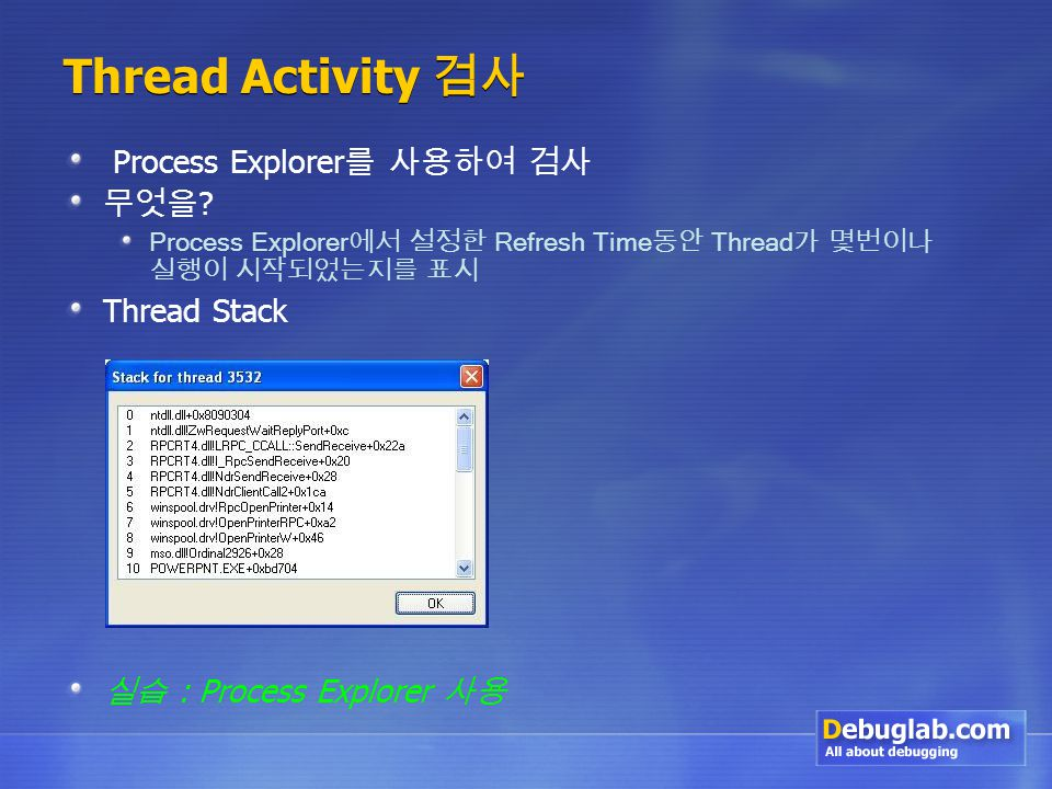 Thread Activity 검사 Process Explorer 를 사용하여 검사 무엇을 .