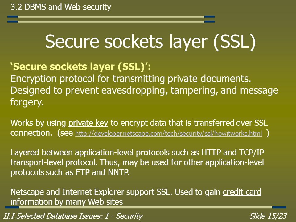 II.I Selected Database Issues: 1 - SecuritySlide 15/23 3.2 DBMS and Web security Secure sockets layer (SSL) 'Secure sockets layer (SSL)': Encryption protocol for transmitting private documents.