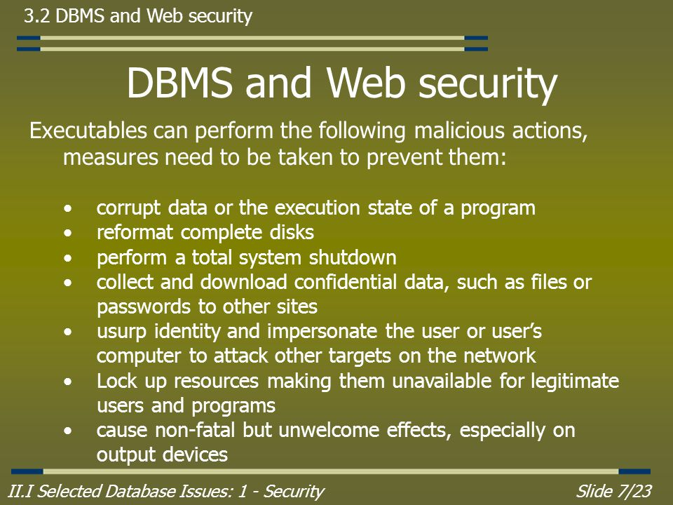 II.I Selected Database Issues: 1 - SecuritySlide 7/23 3.2 DBMS and Web security DBMS and Web security Executables can perform the following malicious actions, measures need to be taken to prevent them: corrupt data or the execution state of a program reformat complete disks perform a total system shutdown collect and download confidential data, such as files or passwords to other sites usurp identity and impersonate the user or user's computer to attack other targets on the network Lock up resources making them unavailable for legitimate users and programs cause non-fatal but unwelcome effects, especially on output devices