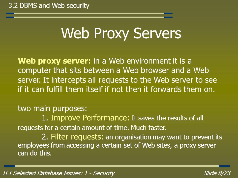 II.I Selected Database Issues: 1 - SecuritySlide 8/23 3.2 DBMS and Web security Web Proxy Servers Web proxy server: in a Web environment it is a computer that sits between a Web browser and a Web server.