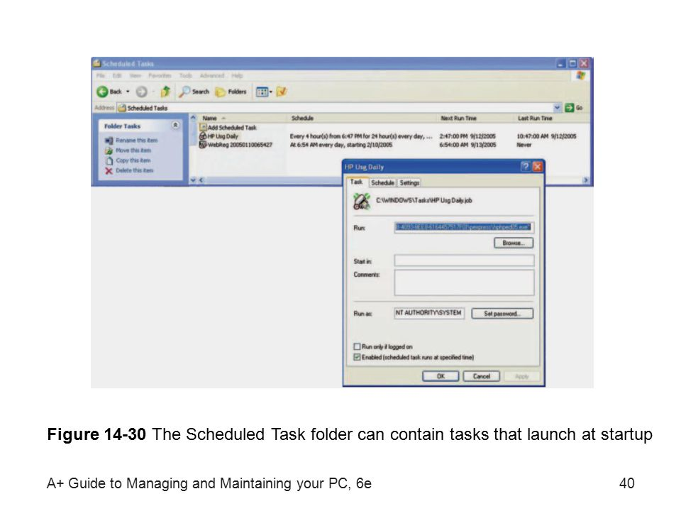 A+ Guide to Managing and Maintaining your PC, 6e40 Figure 14-30 The Scheduled Task folder can contain tasks that launch at startup