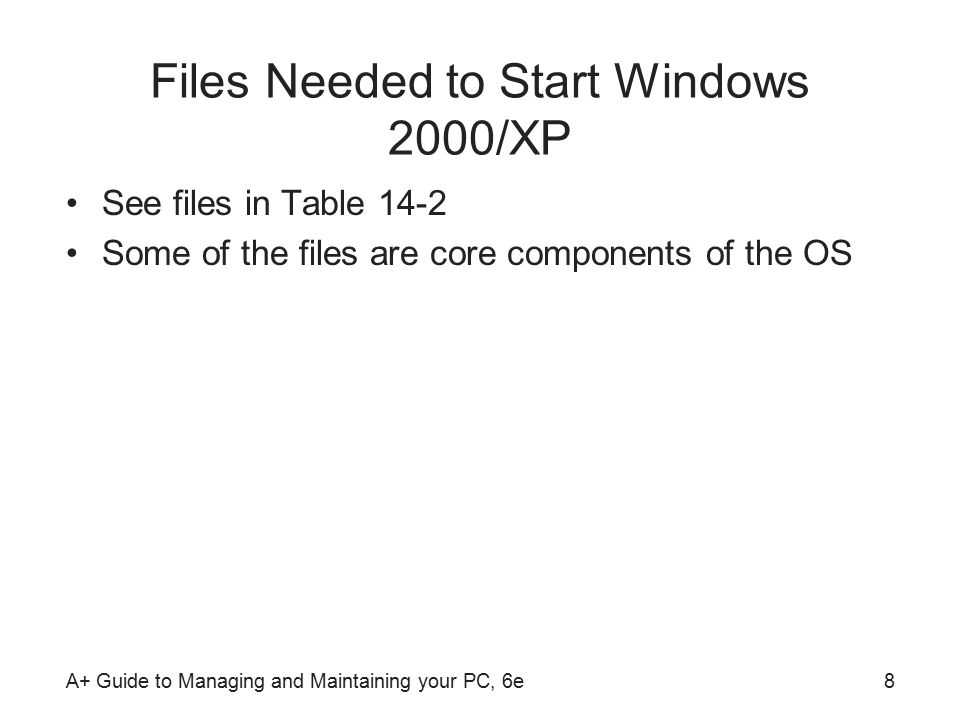 A+ Guide to Managing and Maintaining your PC, 6e8 Files Needed to Start Windows 2000/XP See files in Table 14-2 Some of the files are core components of the OS