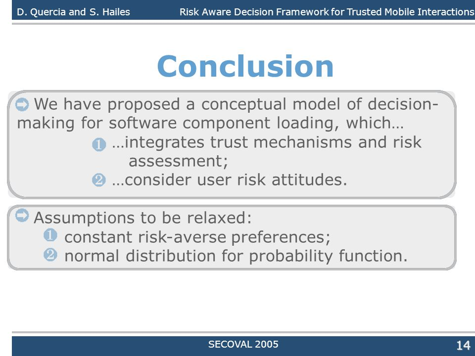 Daniele Quercia14 Conclusion We have proposed a conceptual model of decision- making for software component loading, which… …integrates trust mechanis