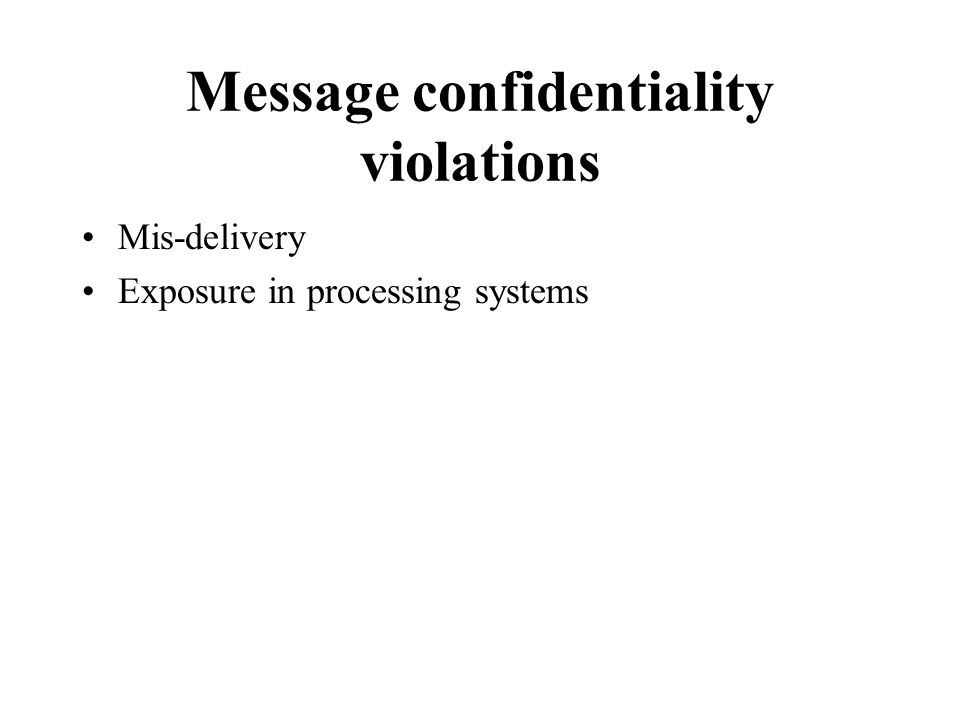 Message confidentiality violations Mis-delivery Exposure in processing systems