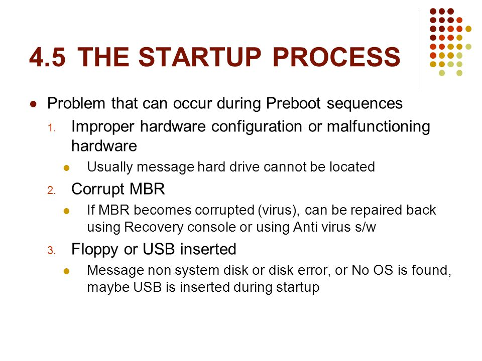 4.5THE STARTUP PROCESS Problem that can occur during Preboot sequences 1.
