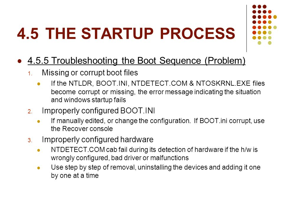 4.5THE STARTUP PROCESS 4.5.5 Troubleshooting the Boot Sequence (Problem) 1.