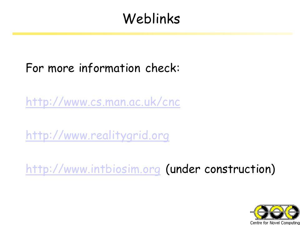 Weblinks For more information check: http://www.cs.man.ac.uk/cnc http://www.realitygrid.org http://www.intbiosim.orghttp://www.intbiosim.org (under co