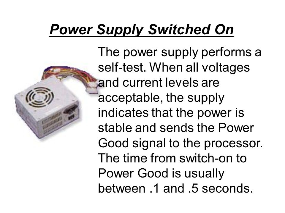 The power supply performs a self-test.