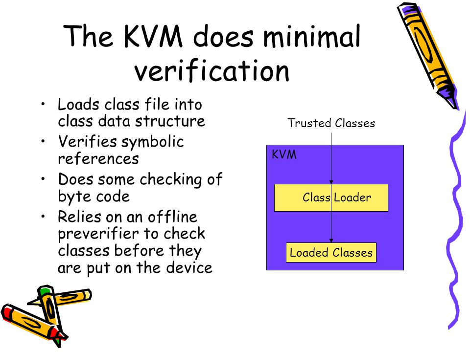 Loaded Classes The KVM does minimal verification Loads class file into class data structure Verifies symbolic references Does some checking of byte code Relies on an offline preverifier to check classes before they are put on the device KVM Trusted Classes Class Loader