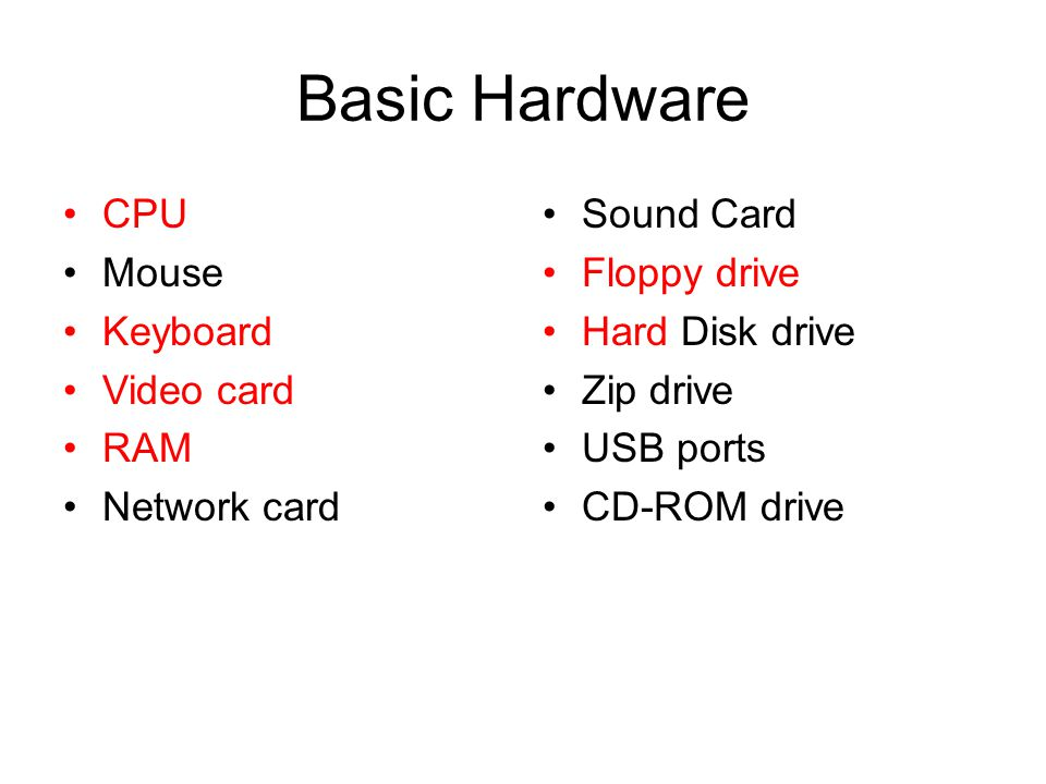 Basic Hardware CPU Mouse Keyboard Video card RAM Network card Sound Card Floppy drive Hard Disk drive Zip drive USB ports CD-ROM drive