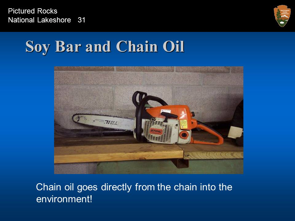 Soy Bar and Chain Oil Chain oil goes directly from the chain into the environment.