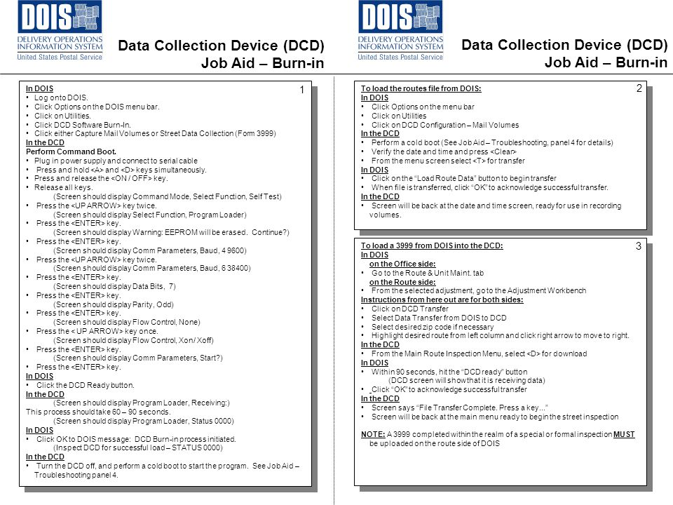 Data Collection Device (DCD) Job Aid – Burn-in In DOIS Log onto DOIS.