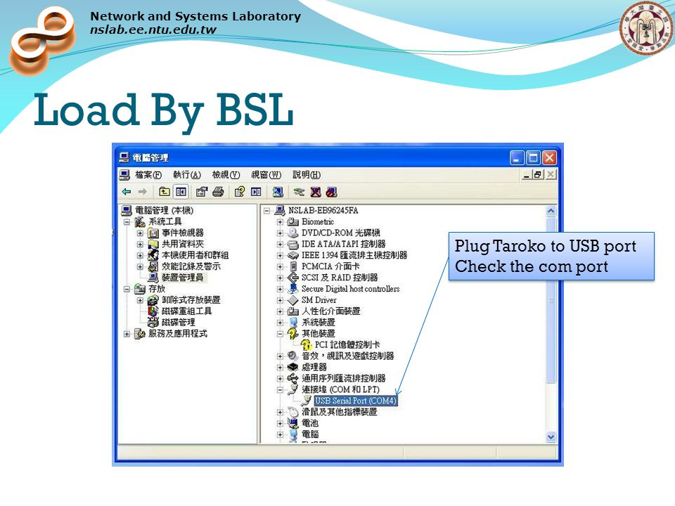 Network and Systems Laboratory nslab.ee.ntu.edu.tw Load By BSL Plug Taroko to USB port Check the com port Plug Taroko to USB port Check the com port