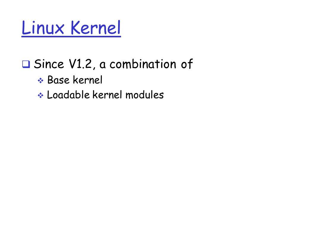 Linux Kernel  Since V1.2, a combination of  Base kernel  Loadable kernel modules