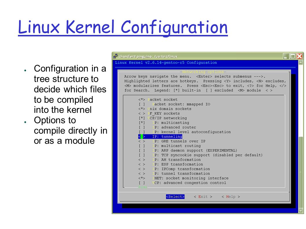 Linux Kernel Configuration ● Configuration in a tree structure to decide which files to be compiled into the kernel ● Options to compile directly in or as a module