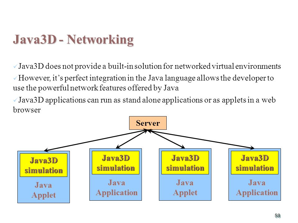 58 Java3D simulation Java Application Java3D simulation Java Applet Java3D simulation Java Application Java3D - Networking Java3D does not provide a built-in solution for networked virtual environments However, it's perfect integration in the Java language allows the developer to use the powerful network features offered by Java Java3D applications can run as stand alone applications or as applets in a web browser Java3D simulation Java Applet Server