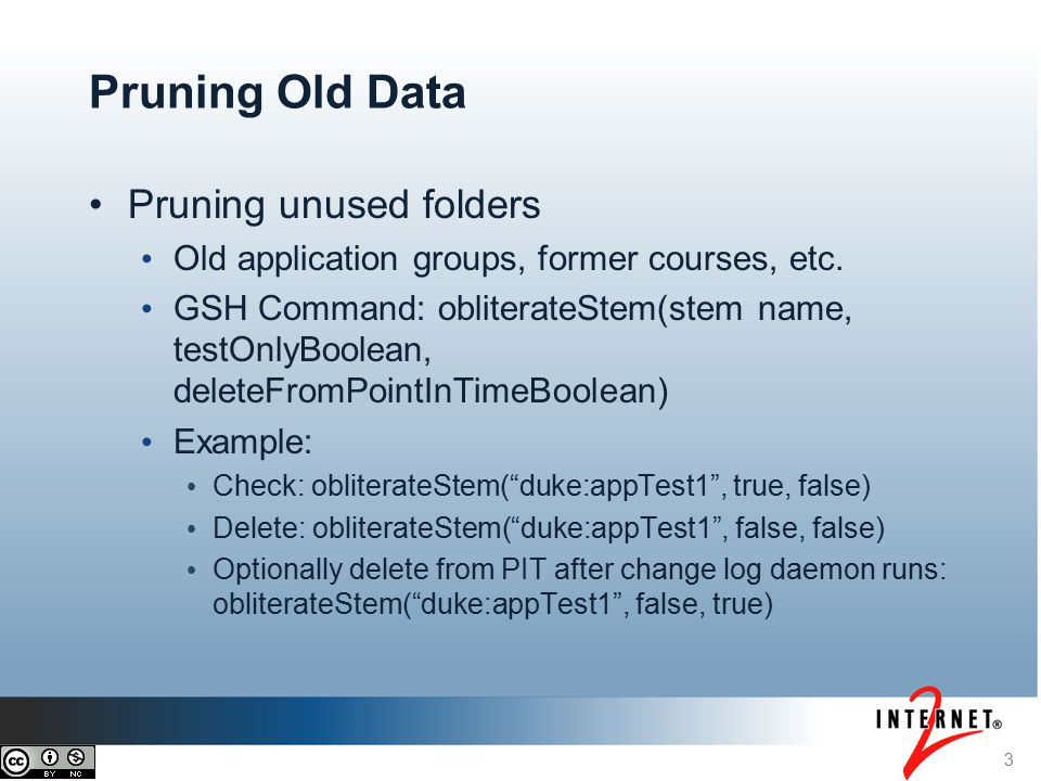 Pruning unused folders Old application groups, former courses, etc.