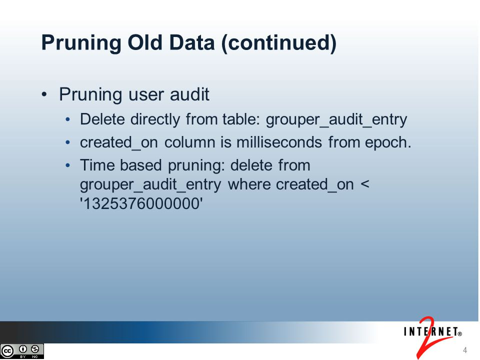Pruning user audit Delete directly from table: grouper_audit_entry created_on column is milliseconds from epoch.