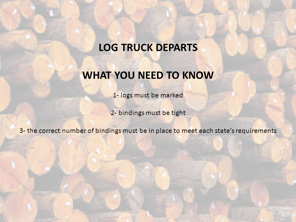 THE TRUCK MOUNTED SELF LOADER WHAT YOU NEED TO KNOW 1- materials and logs may fall 2- the loader's field of vision is only 90° or one fourth of a circ