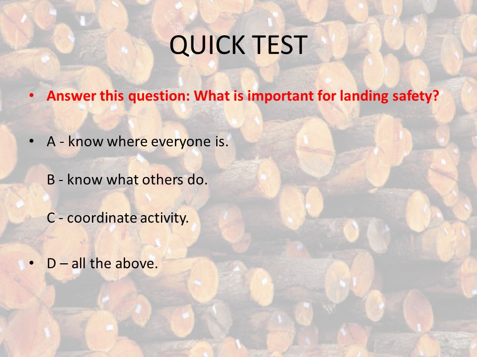 QUICK TEST Answer this question: What is important for landing safety.