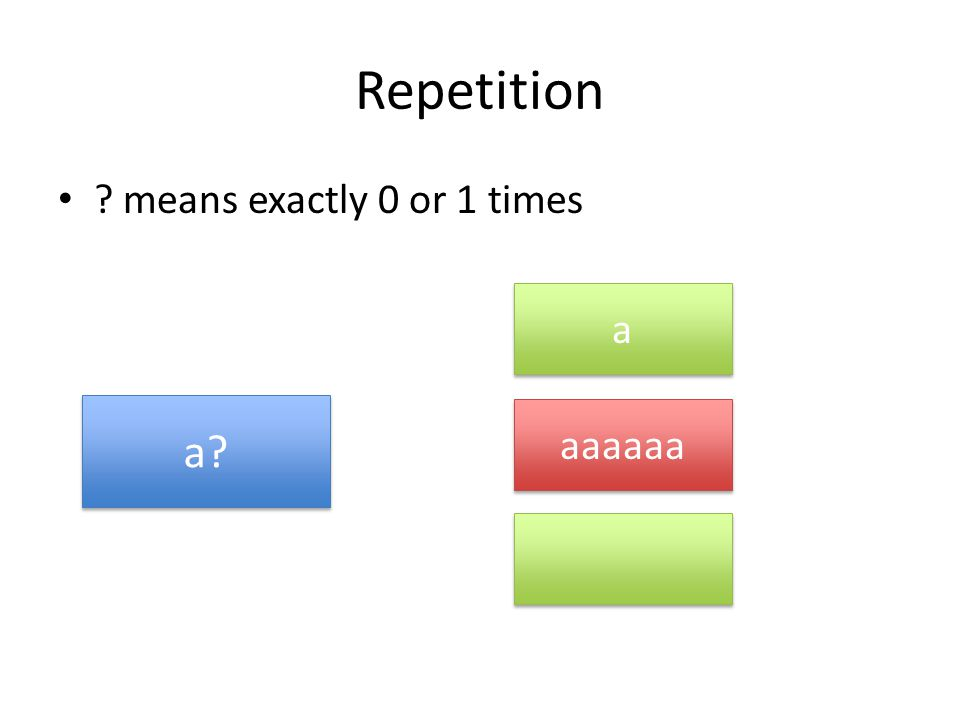 Repetition means exactly 0 or 1 times a a a aaaaaa
