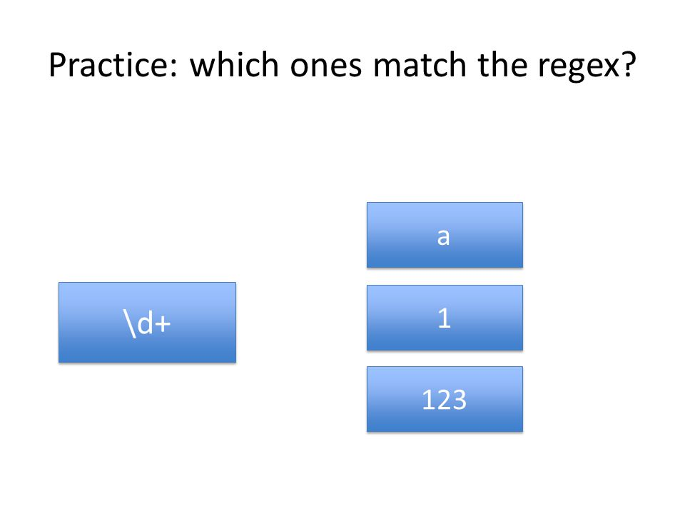 Practice: which ones match the regex \d+ a a 1 1 123