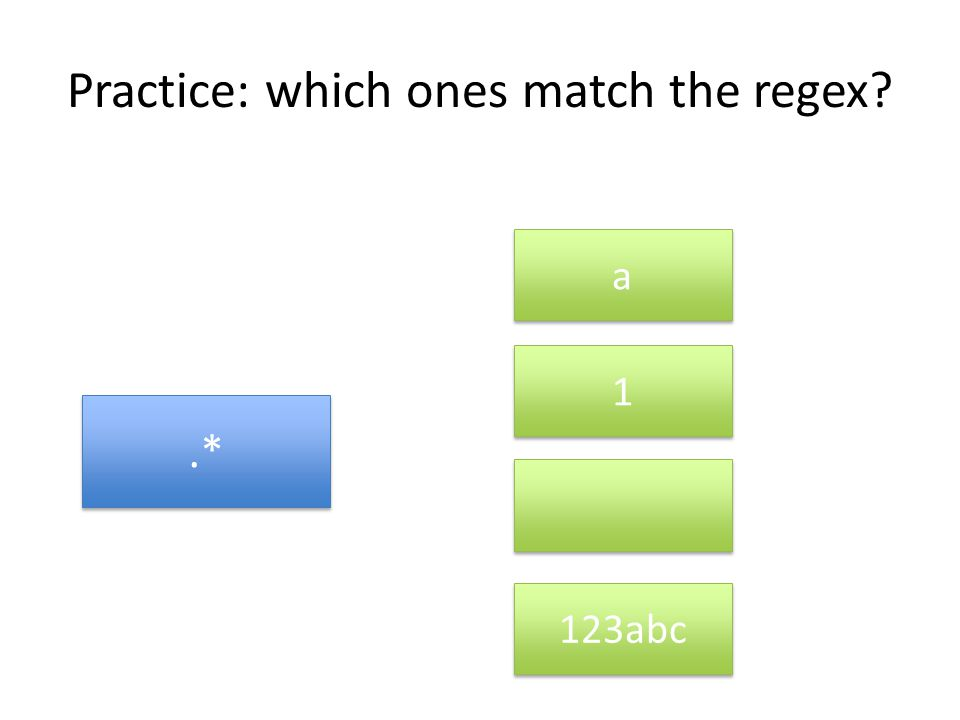 Practice: which ones match the regex .* a a 1 1 123abc