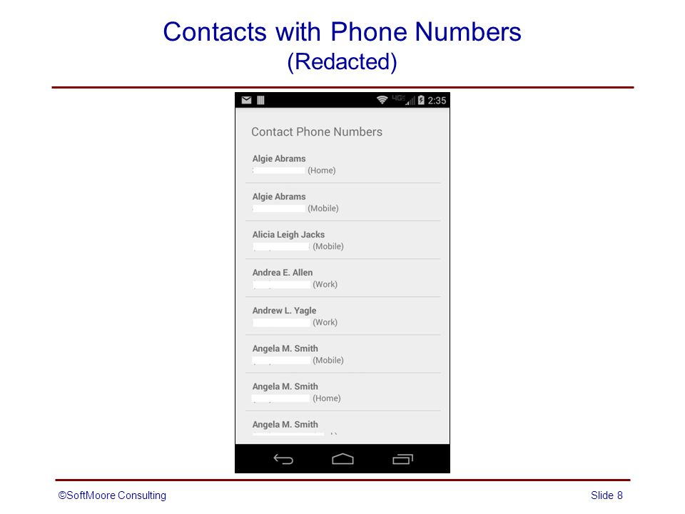 Contacts with Phone Numbers (Redacted) Slide 8©SoftMoore Consulting