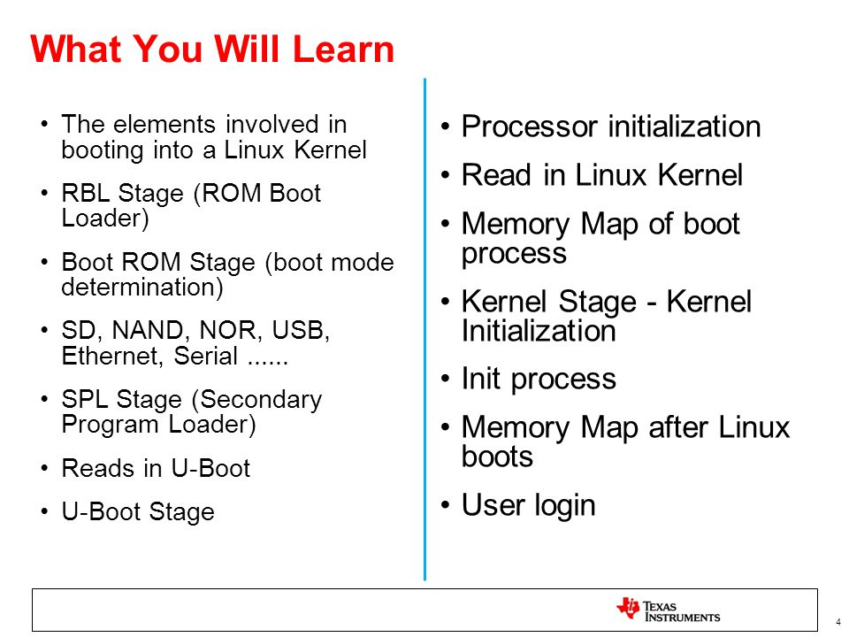 4 What You Will Learn The elements involved in booting into a Linux Kernel RBL Stage (ROM Boot Loader) Boot ROM Stage (boot mode determination) SD, NA