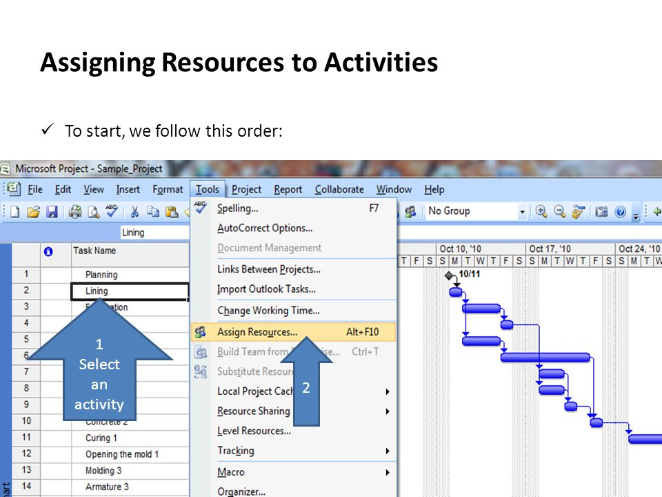 Assigning Resources to Activities Now in Assign Resources window, we can select resources to assign to the selected activity.