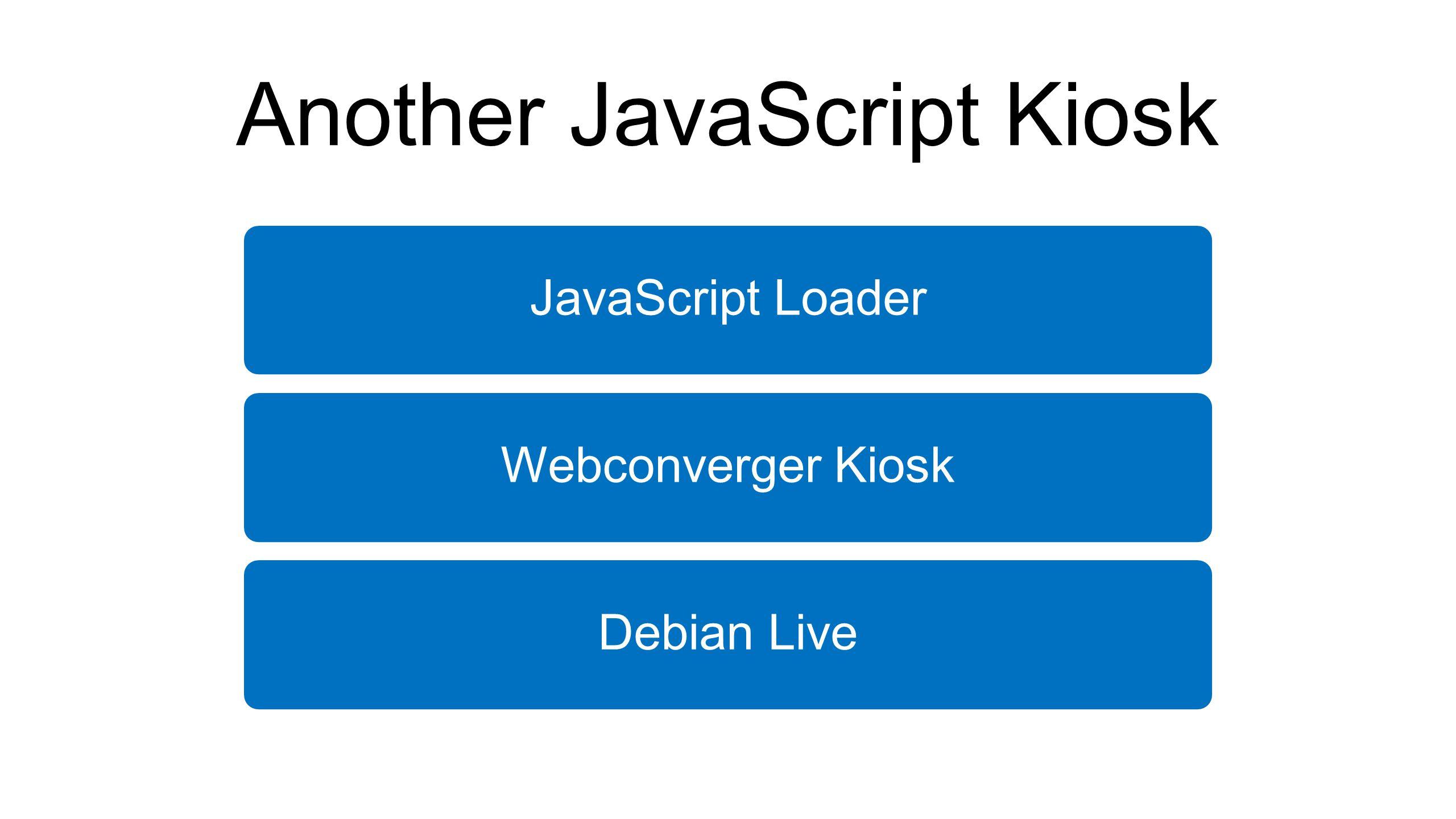Another JavaScript Kiosk JavaScript LoaderWebconverger KioskDebian Live