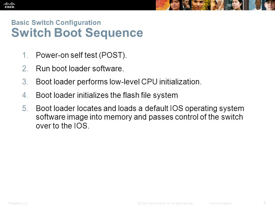 Presentation_ID 4 © 2008 Cisco Systems, Inc. All rights reserved.Cisco Confidential Basic Switch Configuration Switch Boot Sequence 1.Power-on self te