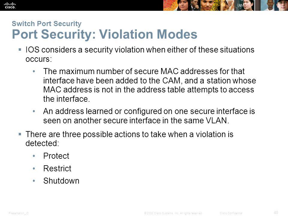 Presentation_ID 40 © 2008 Cisco Systems, Inc.