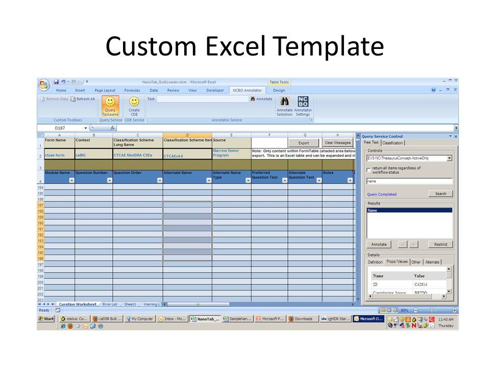 Custom Excel Template