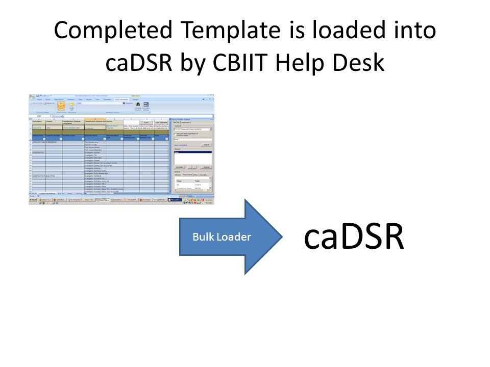 Completed Template is loaded into caDSR by CBIIT Help Desk Bulk Loader caDSR