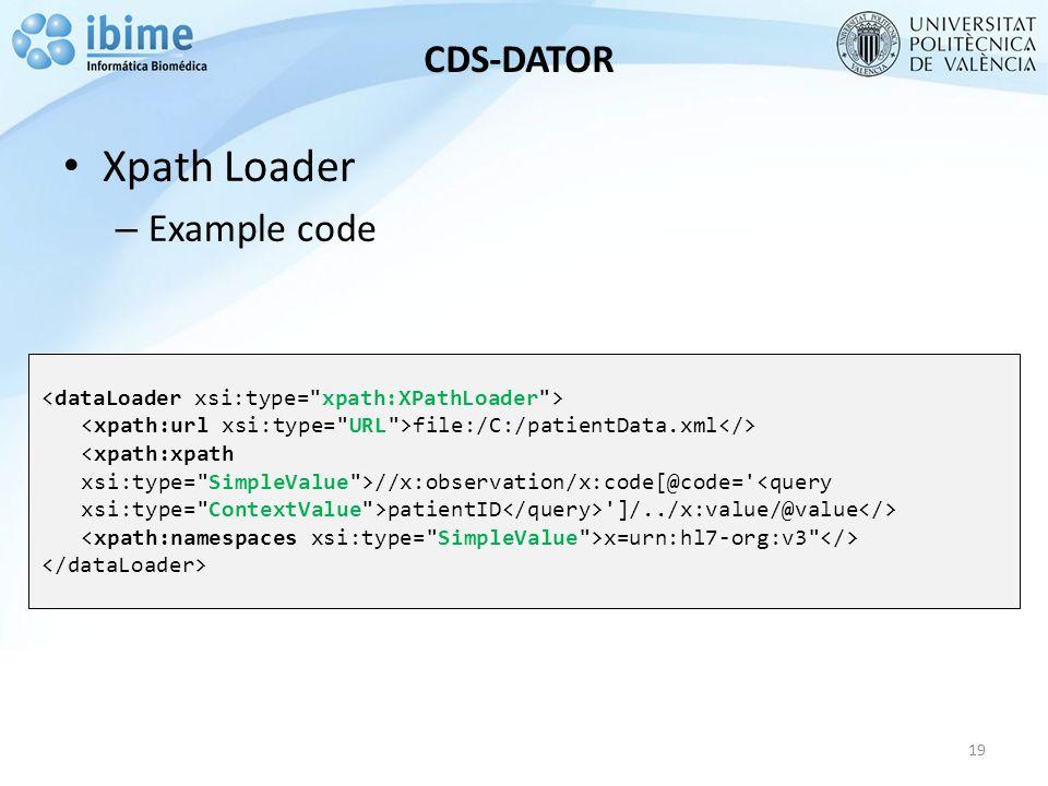 CDS-DATOR Xpath Loader – Example code 19 file:/C:/patientData.xml //x:observation/x:code[@code= patientID ]/../x:value/@value x=urn:hl7-org:v3