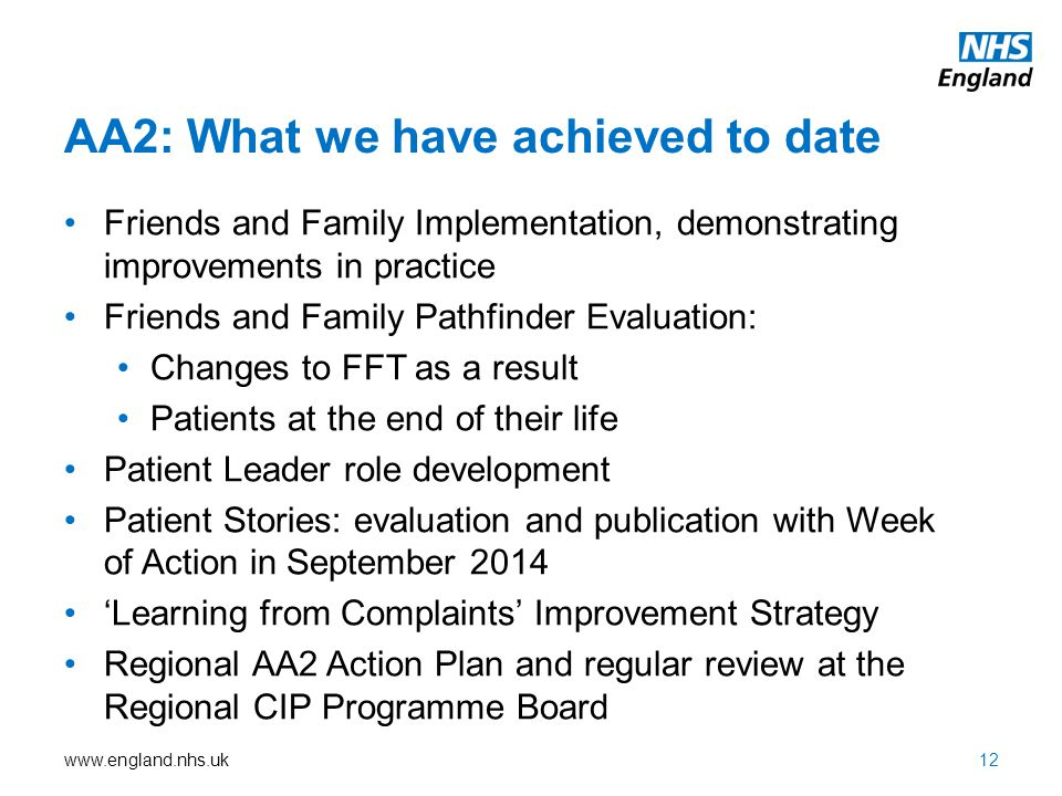 www.england.nhs.uk AA2: What we have achieved to date Friends and Family Implementation, demonstrating improvements in practice Friends and Family Pat