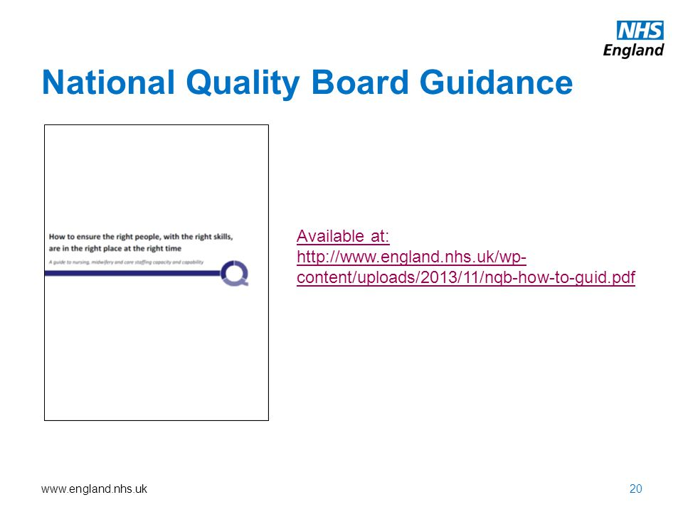 www.england.nhs.uk National Quality Board Guidance Available at: http://www.england.nhs.uk/wp- content/uploads/2013/11/nqb-how-to-guid.pdf 20