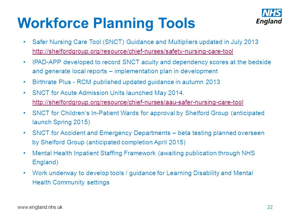 www.england.nhs.uk Workforce Planning Tools Safer Nursing Care Tool (SNCT) Guidance and Multipliers updated in July 2013 http://shelfordgroup.org/reso