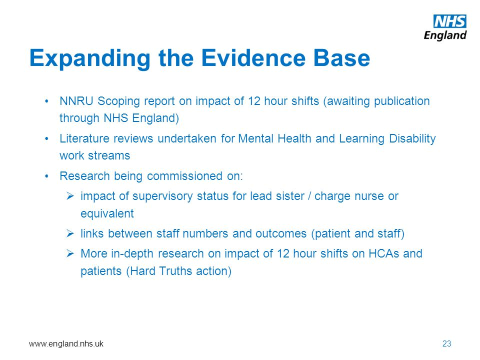 www.england.nhs.uk Expanding the Evidence Base NNRU Scoping report on impact of 12 hour shifts (awaiting publication through NHS England) Literature r