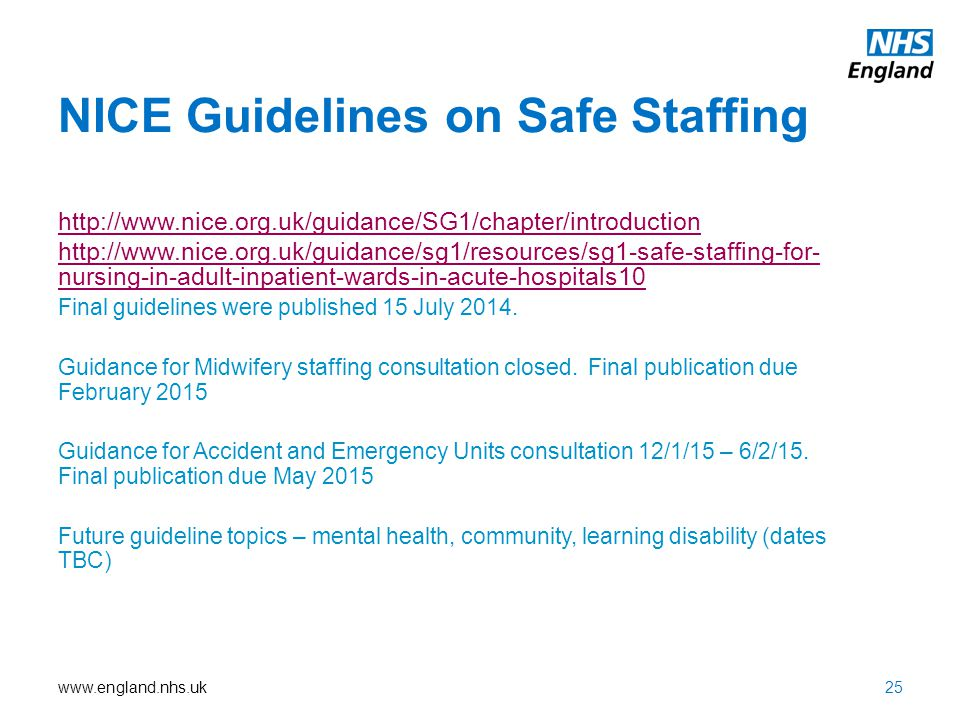 www.england.nhs.uk NICE Guidelines on Safe Staffing http://www.nice.org.uk/guidance/SG1/chapter/introduction http://www.nice.org.uk/guidance/sg1/resou