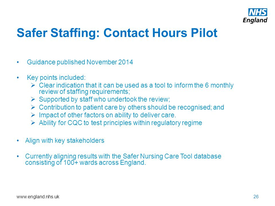 www.england.nhs.uk Safer Staffing: Contact Hours Pilot Guidance published November 2014 Key points included:  Clear indication that it can be used as