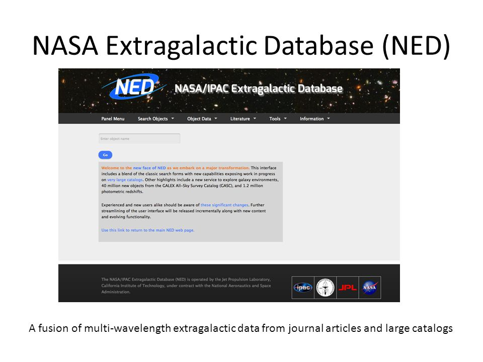 NED Holdings (October 2014) 2MASS PSC And much more, including classifications, notes, images, spectra…