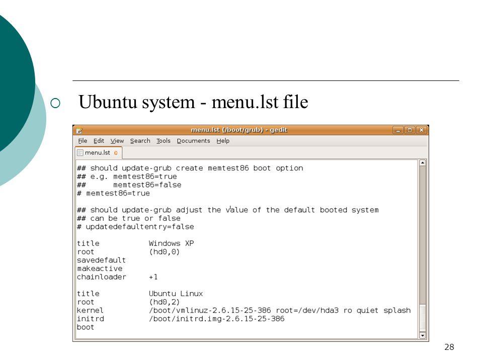 28  Ubuntu system - menu.lst file