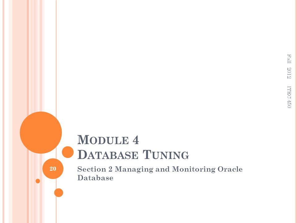 M ODULE 4 D ATABASE T UNING Section 2 Managing and Monitoring Oracle Database 20 ITEC 450 Fall 2012