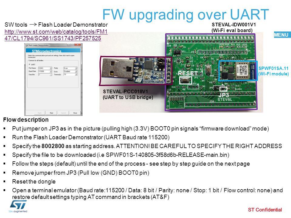 MENU FW upgrading over UART STEVAL-PCC018V1 (UART to USB bridge) STEVAL-IDW001V1 (Wi-Fi eval board) JP3 RESET Flow description  Put jumper on JP3 as