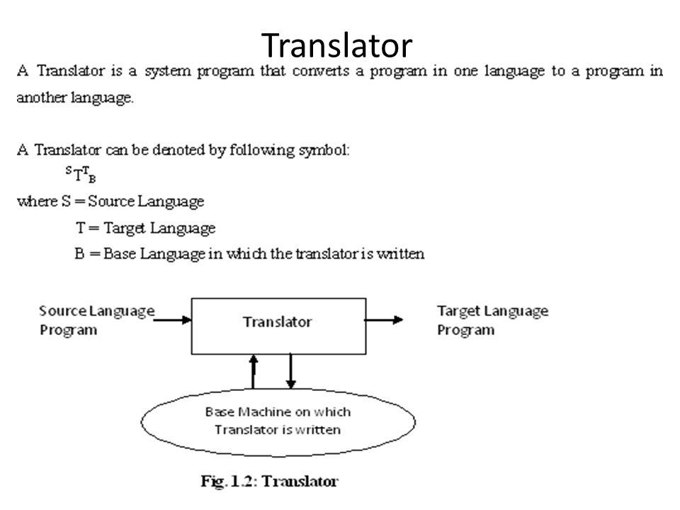Assembler : An Assembler is a translator denoted as follows: A T A A Imagine an 8086 ALP program (the actual assembler) that reads an input some other 8086 ALP program and generates its machine code for 8086 machine.