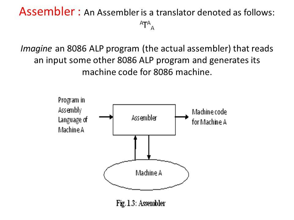 Assembler : An Assembler is a translator denoted as follows: A T A A Imagine an 8086 ALP program (the actual assembler) that reads an input some other