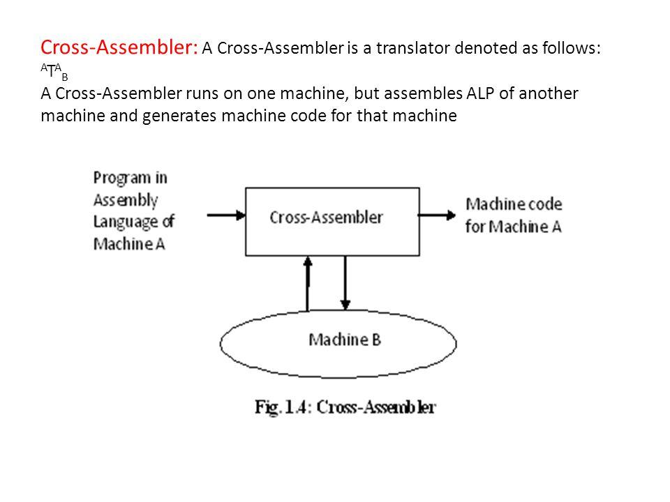 Cross-Assembler: A Cross-Assembler is a translator denoted as follows: A T A B A Cross-Assembler runs on one machine, but assembles ALP of another mac